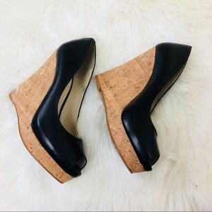 Nine West Black Leather Peep Toe Wedges
